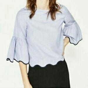Zara Basic blue and white striped flare sleeve top